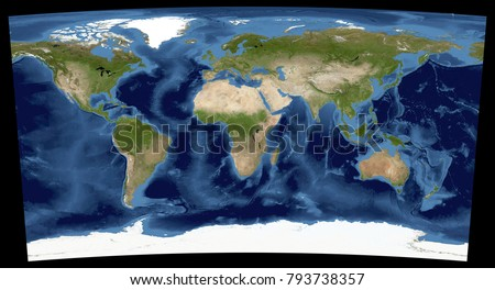 Complete earth view space high resolution stock illustration complete earth view from space high resolution world map illustration in cartographic projection data gumiabroncs Choice Image