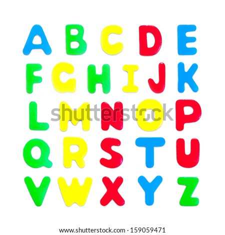 Complete English alphabet - collage of 26 isolated colourful wood with drop shadow on white background