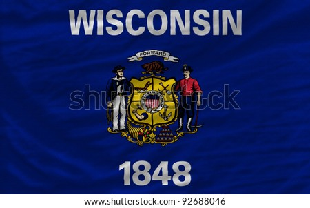 complete flag of us state of wisconsin covers whole frame, waved, crunched and very natural looking. It is perfect for background - stock photo