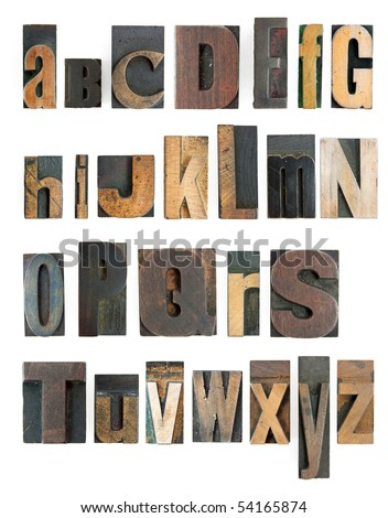 complete letterpress high resolution alphabet with wooden blocks - stock photo