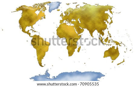 Complete map of the world isolated on white - stock photo