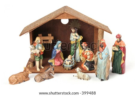 Complete nativity scene with stable.  Isolated. - stock photo