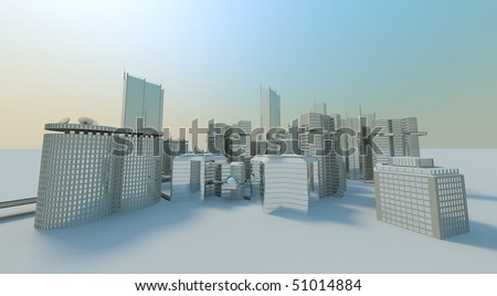 complete office city background