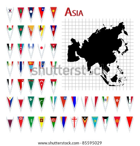 Complete set of Asia flags and map, isolated and grouped objects over white background - stock photo