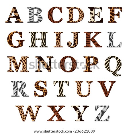 Complete set of colored ornamental uppercase alphabet letters with assorted animal skin or fur patterns in antiqua font, illustration isolated on white - stock photo