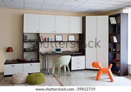 Complete set of furniture for children bedroom - stock photo
