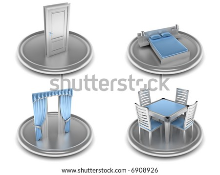 complete set of icons on an home theme with the image of the equipment and tools in blue and silver color - stock photo