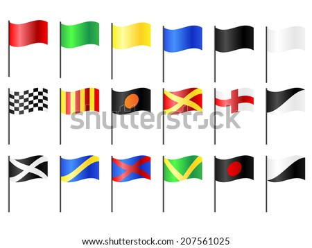 Complete set of motorcycle, go-cart and car circuit racing flags