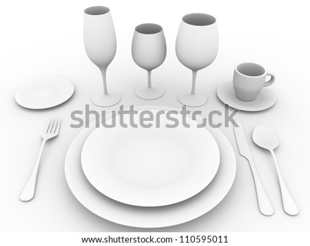 complete set of tableware. Fork, spoon, plates, knife, coffee cup and glasses - stock photo