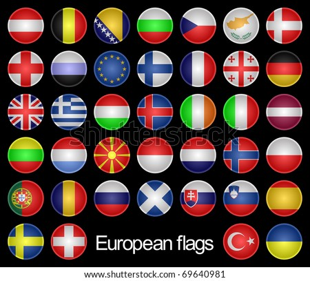 Complete set of the buttons as flags of the European countries on a black background.Marks are located in alphabetical order.EPS version is available as ID 68879266