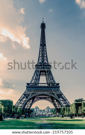 Complete view of the Eiffel tower in Paris. Vintage effect - stock photo