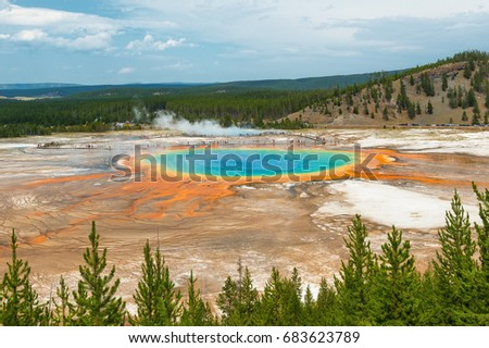 Complete view of the Grand Prismatic Spring inside Yellowstone national park with tourists walking the loop in the state of Wyoming, United States of America (USA).
