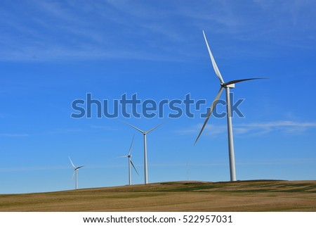 completed wind turbines part of new wind farm in North Dakota.