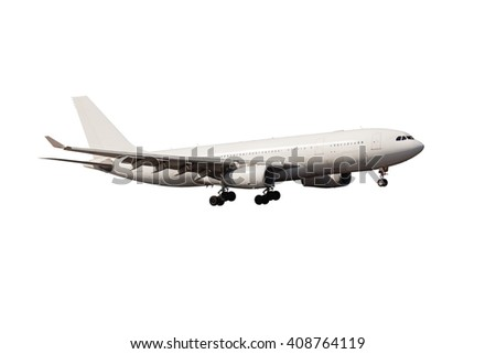 Completely white passenger plane with gear. A side view of wide-body aircraft. - stock photo