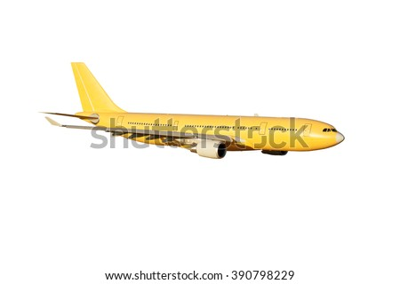 Completely yellow / orange wide-body passenger plane. A side view of aircraft. - stock photo