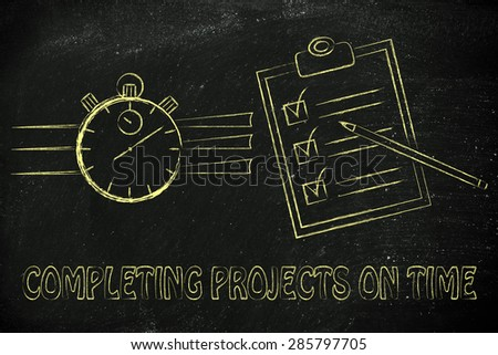 completing projects on time: stopwatch and to do list fully ticked off