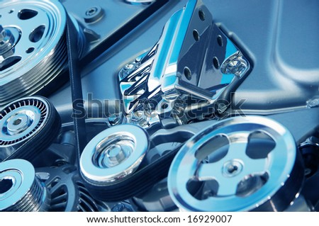 Complex engine of modern car with lots of details. - stock photo