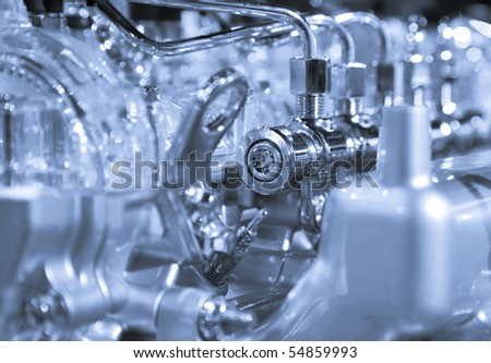 Complex engine with lots of details - stock photo