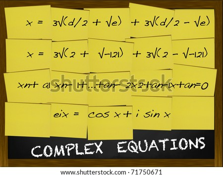 Complex Equation written on yellow notes covering a blackboard - stock photo