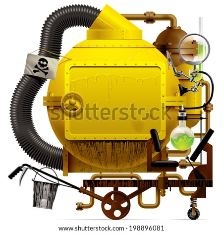 Complex fantastic machine with yellow round boiler, crimped pipe, chemical flask, sign, bucket, lens, equipment and armament - stock photo