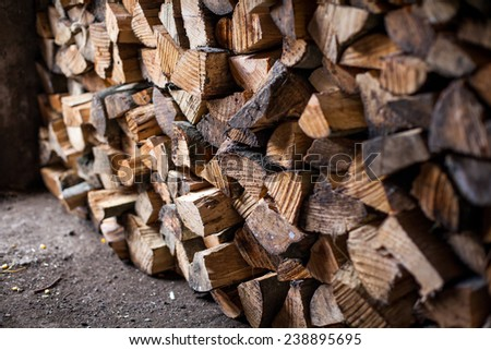 complex firewood for the winter - stock photo