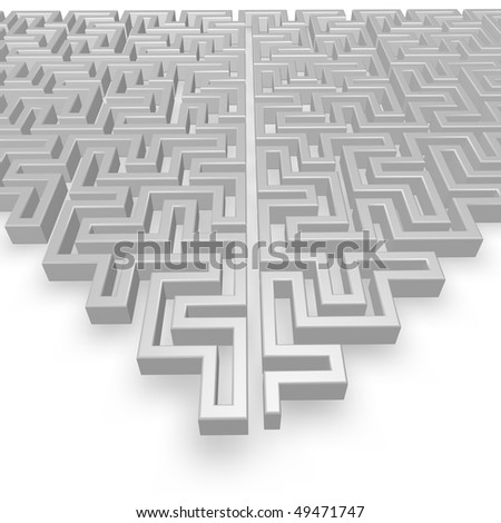 complex labyrinth on white background - 3d illustration - stock photo