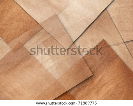 Complex layers of old brown paper - stock photo