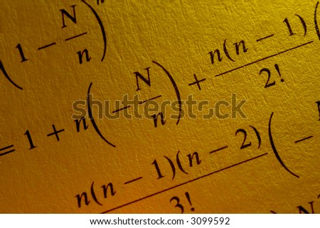 Complex mathematical equation, confusing math problem - stock photo