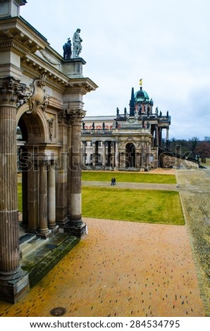 complex of buildings belonging to the potsdam university in sanssouci park in germany. - stock photo