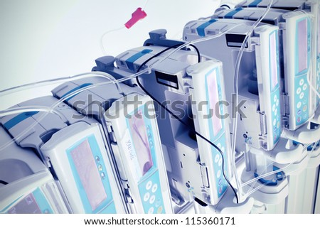 complex of medical equipment at work - stock photo