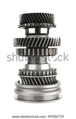 complex stainless cogwheel isolated on white background - stock photo