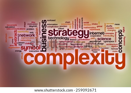 Complexity word cloud concept with abstract background - stock photo