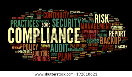 Compliance and audit in word tag cloud on black - stock photo
