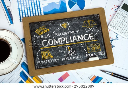 compliance concept with business elements on blackboard - stock photo