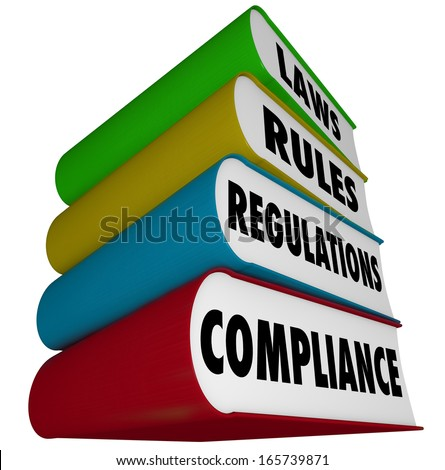 Compliance Laws Rules Regulations Books - stock photo