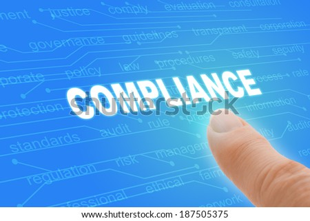Compliance Regulations Computer Words with Finger Closeup  - stock photo