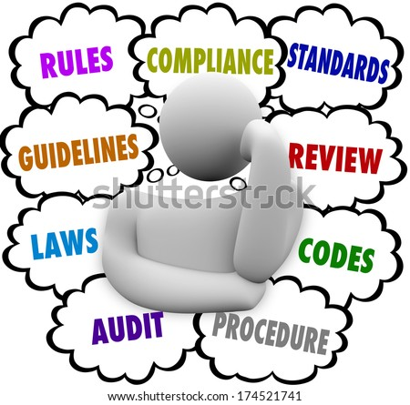 Compliance Rules Regulations Laws Audit Standards Thought Clouds  - stock photo
