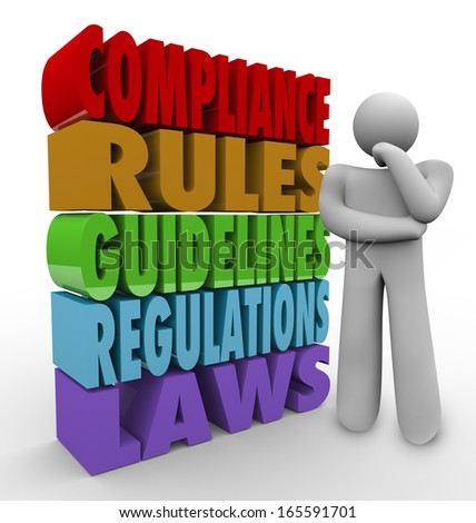 Compliance Thinker Rules Guidelines Regulations - stock photo