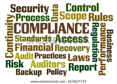 Compliance word cloud on white background - stock photo