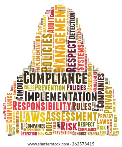 Compliance word cloud shaped as a body - stock photo
