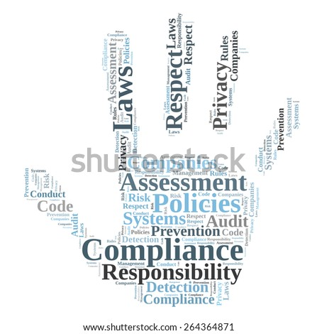Compliance word cloud shaped as a hand - stock photo