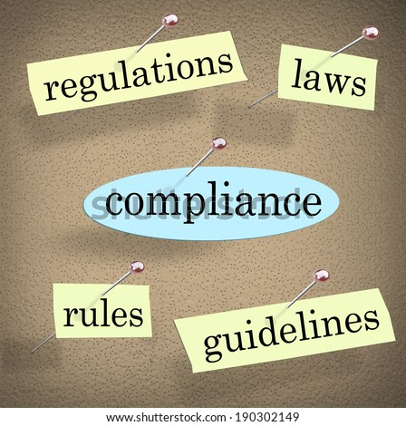 Compliance Words Bulletin Board Rules Laws Regulations - stock photo