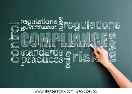 compliance written on blackboard - stock photo