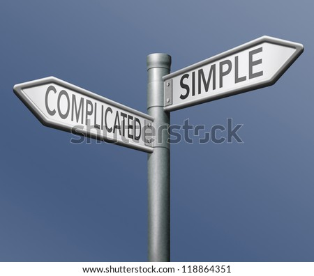 complicated or simple the easy or the hard way roadsign arrow on blue background crossroads decisive choice challenge making choice stand out from crowd taking risk adventure character test - stock photo