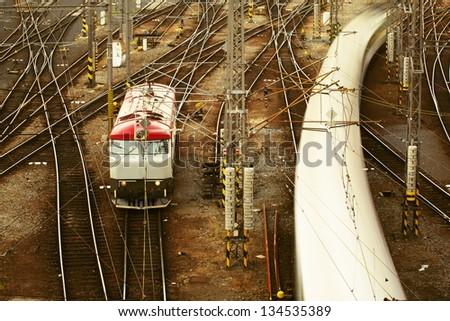 Complicated rail network, Prague - stock photo