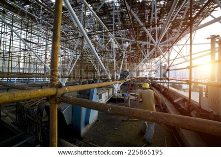 Complicated scaffold for building roof construction,shanghai - stock photo