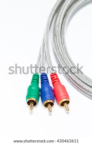 Component Video Cable on white background - stock photo