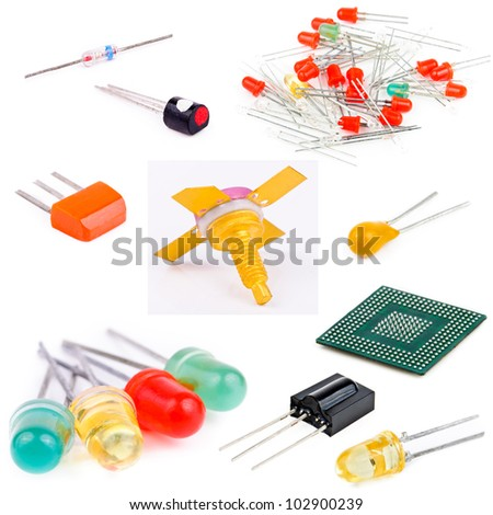 Components for electronic devices. Photo isolated on white background - stock photo