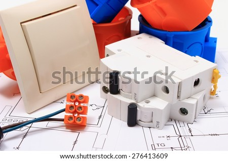 Components for use in electrical installations and electrical diagrams, accessories for engineering work, energy concept - stock photo