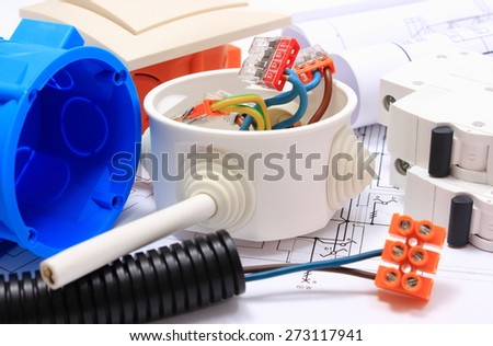 Components for use in installations and electrical diagrams, copper wire connections in electrical box, accessories for engineering work, energy concept - stock photo